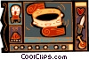 Vector Clip Art image  of a wagon, camp fire, knife, tambourine