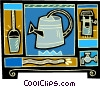 Vector Clipart image  of a water can motif with a well