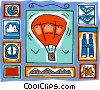 hot air balloon a compass, binoculars Vector Clip Art picture