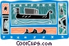 ship motif with star, pyramid, ship Vector Clipart graphic
