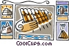 Greece pipes of pan, eagle crest, Vector Clipart image