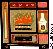 Vector Clipart picture  of a fireplace motif with matches