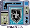 warrior motif with shield, sword, gun Vector Clipart picture