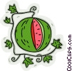 Vector Clipart image  of a watermelon on vine