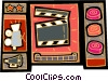 Vector Clip Art picture  of a film motif with camera