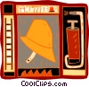 fire fighter hat, ladder, fire extinguisher Vector Clipart illustration