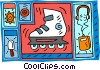 Vector Clipart picture  of a roller blading  ice cream and