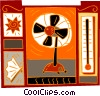 Vector Clip Art image  of a hot summer motif with fan