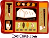 Indian motif with tent, hatchet and pegs Vector Clipart illustration
