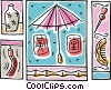 sunny day motif with umbrella, and shade Vector Clip Art image