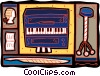 piano Mozart statue, and stool Vector Clip Art graphic