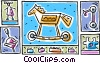 Vector Clip Art image  of a toy horse with spinning top