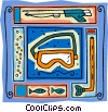 Vector Clip Art image  of a snorkel, mask, fish, spear gun