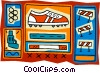 track and field hurdles, shot put, starting pistol Vector Clipart graphic