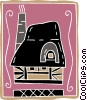 Vector Clip Art image  of a cottage motif