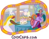 blowing out birthday candles Vector Clip Art graphic