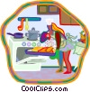 Vector Clip Art graphic  of a women taking turkey out of