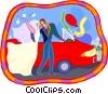 Vector Clipart image  of a Newlyweds getting into car