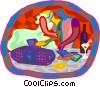 CD player at party Vector Clip Art graphic