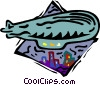 Vector Clipart graphic  of a blimp flying over city