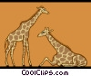 Vector Clip Art graphic  of a giraffes