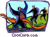 people running a race with a winner Vector Clipart illustration
