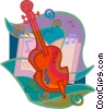 cello with musical background Vector Clipart image