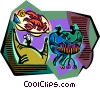 Vector Clip Art image  of a intimate meal with chef and