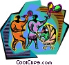 Vector Clip Art graphic  of a parents and baby motif