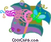 Vector Clipart image  of a butterfly net with butterfly