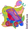 Vector Clip Art graphic  of a Child's stroller and balloons