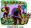 Vector Clipart picture  of a farmers harvesting wheat