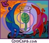 leaf in test tube Vector Clipart picture