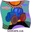 Vector Clipart illustration  of a farm tractor