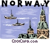 Vector Clipart graphic  of a Norway harbor scene