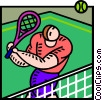 Tennis player returning ball Vector Clip Art picture