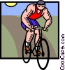 Vector Clip Art graphic  of a Man on bike