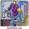 Vector Clip Art image  of a women working at computer