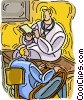 Vector Clipart picture  of a doctor filling out