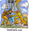 Vector Clip Art picture  of a men setting up oil rig