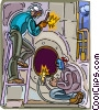Vector Clipart illustration  of a men fixing boiler