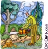 Vector Clip Art picture  of a man trimming log with chain