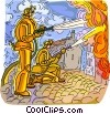 firemen fighting fire Vector Clip Art graphic