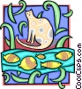 Vector Clip Art picture  of a cat with fish design