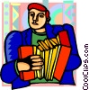 Vector Clipart graphic  of a man playing accordion