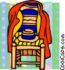 Vector Clipart image  of a chair with coat and hat on it