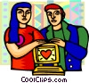 couple that love their computer Vector Clip Art picture