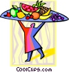 Vector Clip Art graphic  of a chef with a fruit platter