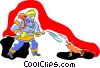 Vector Clipart image  of a fireman hosing down an ugly