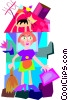 Vector Clip Art graphic  of a house cleaning